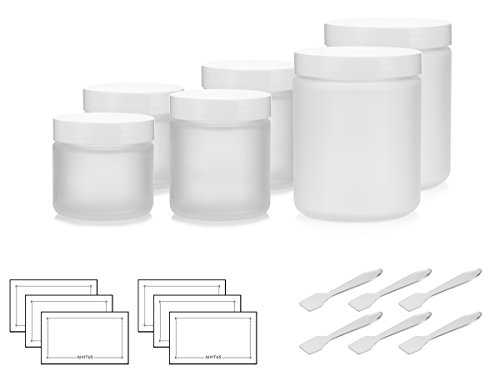 6 Piece Frosted Glass Straight Sided Jar Starter Kit Set with White Lids: Includes 2-2 oz Frosted Glass Jars, 2-4 oz Frosted Glass Jars, 2-8 oz Frosted Glass Jars + Spatulas and Labels