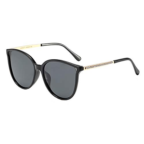 Polarized Sunglasses for Women 100% UV Protection Vintage Cateye Sunglasses Anti-glare Lens, Black Frame