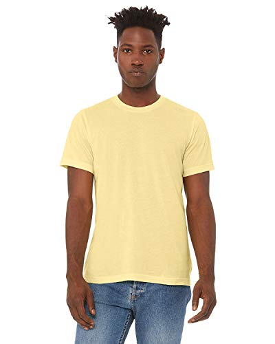 Bella + Canvas - Unisex Triblend Short Sleeve Tee, XS, Pale Yellow Triblend from Bella