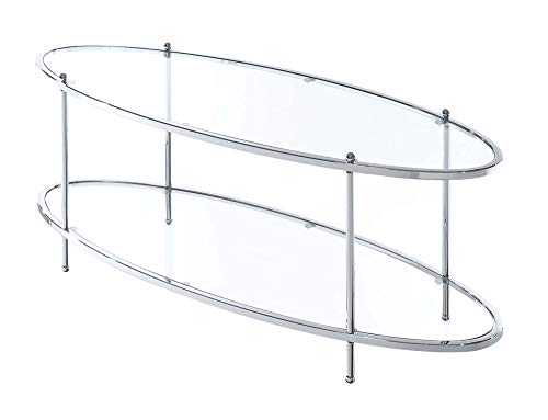 Convenience Concepts Royal Crest Oval Coffee Table, Clear Glass/Chrome Frame (Glass Table Coffee Oval Small)