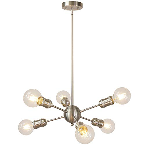 Modern Sputnik Chandelier 6 Lights Brushed Nickel Flush Mount Ceiling Light Fixture Industrial Pendant Light for Dining Room Living Room UL Listed by MELUCEE For Sale