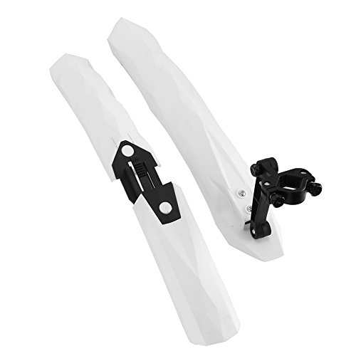 Bike Fenders Set Front Rear Mud Guard Tire Tyre Mud Flaps Fender Folding Quick Release With Led Light/ Warn Taillight Clip-On Splashboard Protector for Mountain BMX Racing Touring Road Bicycle (white)