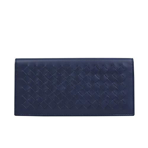(Bottega Veneta Men's Intercciaco Navy Blue Leather Long Bifold Wallet 390878 4111 )