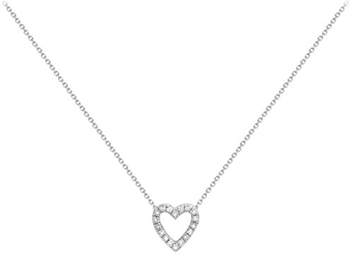 Carissima Gold - Collier Femme - Coeur - Or blanc 375/1000 (9 cts) 1 gr - Diamant - 43 cm