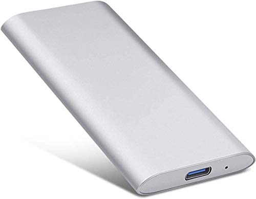 External Hard Drive Type C USB 2.0 Portable 1TB 2TB Hard Drive External HDD Compatible for Mac Laptop and PC (2tb, Silver)