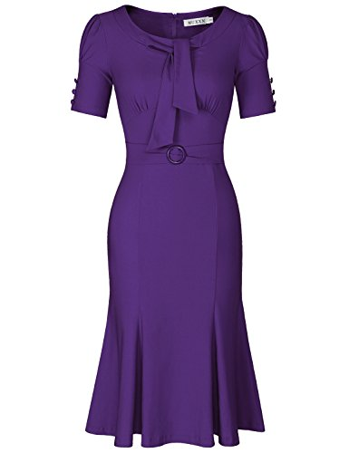 MUXXN Women's Round Callor Tie Waist Semi Formal Party Dress (Purple L)