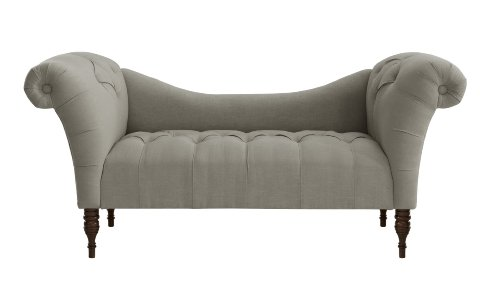 Skyline Furniture Tufted Chaise Lounge in Linen Grey