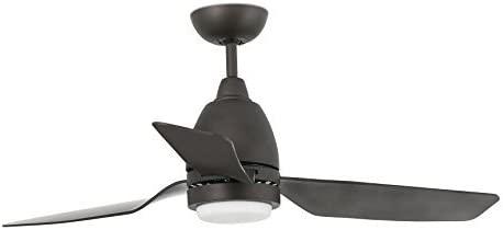 Faro Barcelona 33469 - FOGO Ventilador con luz (bombilla incluida) LED, 12W, cuerpo de acero palas de abs y difusor de cristal opal