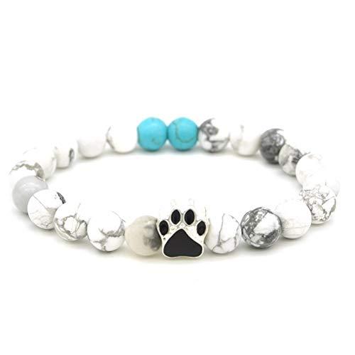 (3 Styles Paw Print Charms Bracelets 8mm Black Lava Stone Beads DIY Aromatherapy Essential Oil Diffuser Bracelet Tiger Eye Stone)