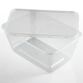 Zuvo - 50 recipientes rectangulares de plástico transparente para ...