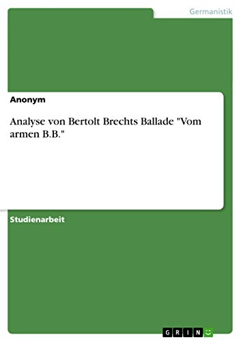 Amazoncom Analyse Von Bertolt Brechts Ballade Vom Armen