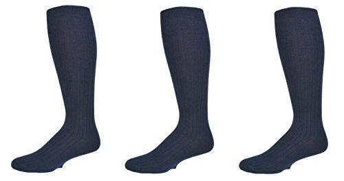 Sierra Socks Men's 3 Pair Pack Classic Dress Over the Calf Cotton Socks M3300 (Sock Size 10-13, Shoe Size 10-13, Navy) (Classic Rib Sock Dress)