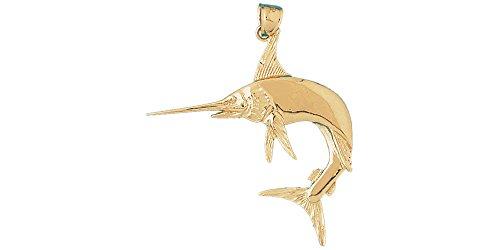 14K Yellow Gold Marlin Pendant (48mm x 50mm) ()