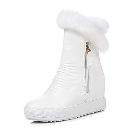 (DETAIWIN Women Mid Calf Boots Wedges Heel Zipper Fashion Keep Warm Wiinter Round Toe Snow Boots)