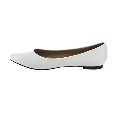 Bonnibel Tinkle-4 Dames Slip Op Casual Ballet Flats, Wit