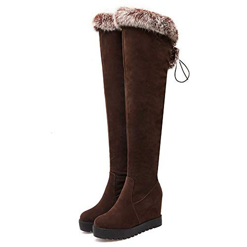 7 Knee Women Brown Over The Heel Wedge Boots Taoffen WgfU7wP8q7