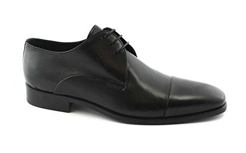 Melluso U24009 Zwarte Schoenen Man Derby Elegant Leder Cap Nero