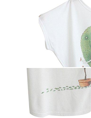 JOLLYCHIC mujer patrón de dibujos animados O-Neck Loose Top Blusa Camiseta blanco