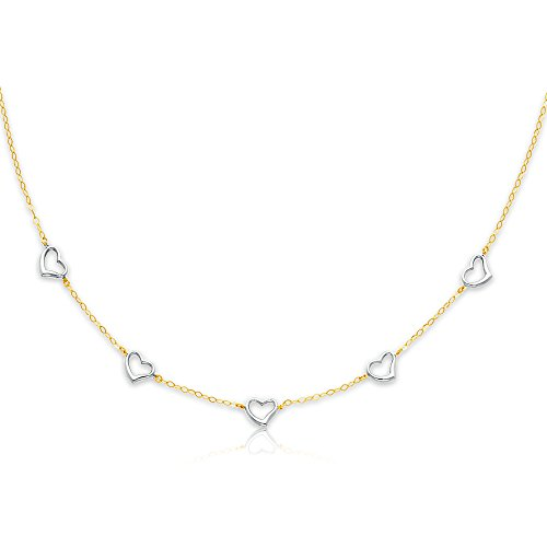 (Sonia Jewels 14k Two Tone White and Yellow Gold Heart Link Necklace - 17
