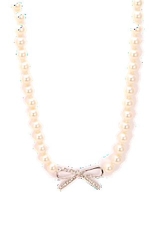 Crystal Bow simulated Pearl Necklace - Swarovsky Element