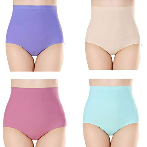 YaShaer 4 Pack Women's Comfort Revolution Seamless Silky Brief Invisible Panties High Waist Tummy Control Underwear
