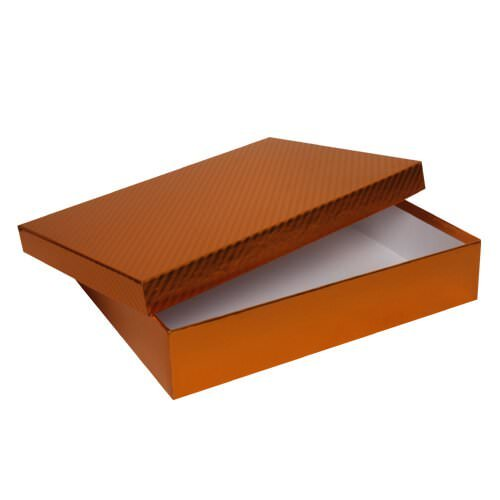 """JAM Paper® Two Piece Foil Gift Boxes with Lid - 9 1/2"""" x 12 1/2"""" x 2 1/2"""" - Copper With Copper Pinstripe Lid - Sold individually"""