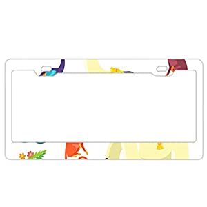 EXMENI Symbols Of India License Plate Frame Theft-proof Frames Stainless Steel Board Frames