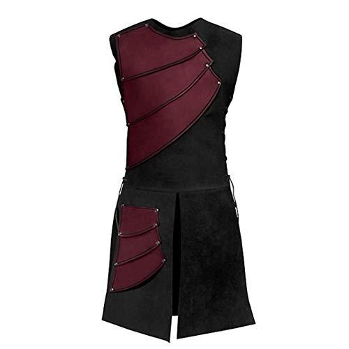 YAHUIPEIUS Medieval Warrior Waistcoat Renaissance Mid-Long Men Vests Victorian Stage Suit Costume (XL, Red)