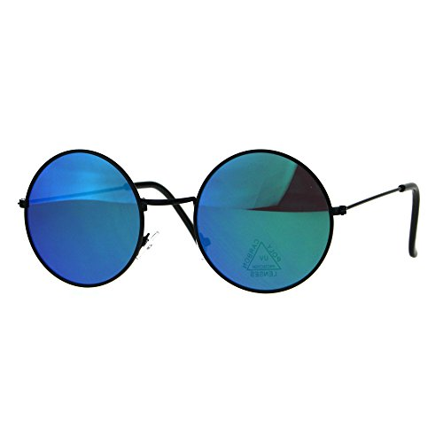 31tvBLDcd4L - Color Mirror Lens Metal Rim Round Circle Hippie Groovy Sunglasses