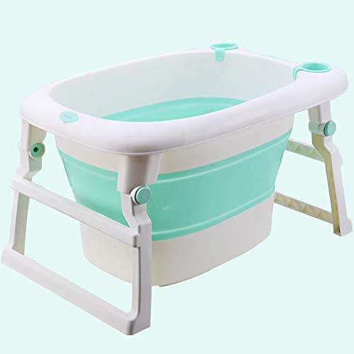 YXMJ Kids Paddling Pool Large, Portable Family Collapsible Bathtub, Heightening and Widening of The Ladder Stent Large Plastic Pots with Bath Stool 3 Colors