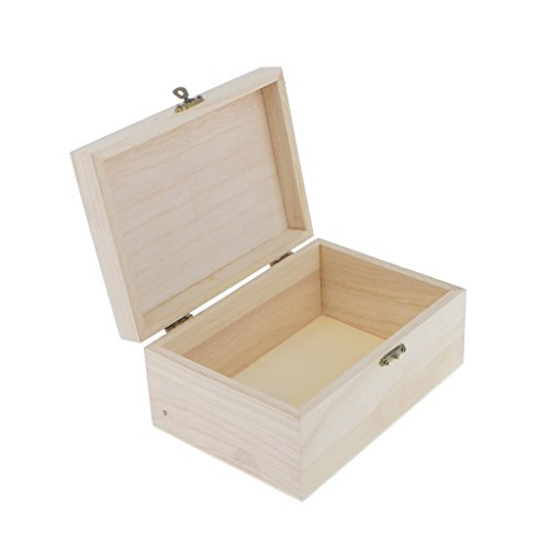 Homyl Natural Wood Treasure Chest Unpainted Box for Kids Art Crafts Making Trinkets Container 17.5 x 8 x 12.5 cm