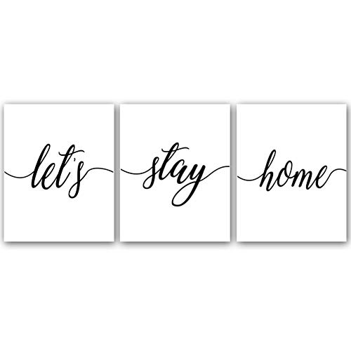 """Let's Stay Home Quote Saying Inspirational Art Print Set of 3 (10""""X8"""") Art Painting,Canvas Sweet Home Wall Art Picture for Bedroom Home Decor Great Gift for Home,No -"""