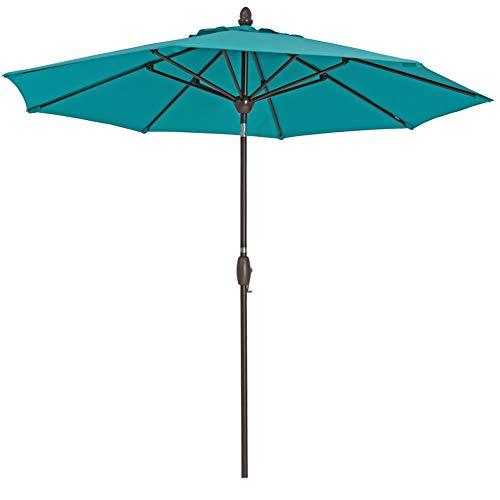 SORARA Patio Umbrella 9' Outdoor Table Market Umbrella with Push Button Tilt&Crank&Umbrella Cover, 8 Ribs, Aruba