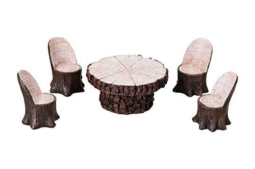An Figurines Miniature Fairy Garden Log Table w/Four Chairs