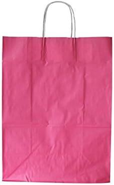 Papiertragetaschen mit weißer Kordel Farbe: Altrosa/Malve 26 + 12 x 35 cm (25 Stück)