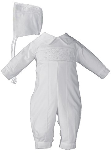 Hand Smocked Pin Tucked, Long Sleeve, Long Pant Christening Baptism Coverall, 06 by Little Things Mean A Lot