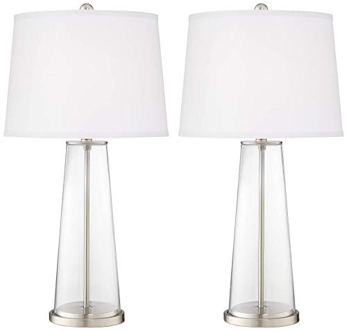 Leo Modern Table Lamps Set of 2 Fillable Clear Glass Tapered Column Plain White Drum Shade for Living Room Family Bedroom - Color + ()
