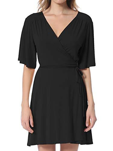 Instar Mode Women's Solid V-Neck Knee Length Self-Tie Kimono Sleeve A-line Wrap Dress - Made In USA Black S
