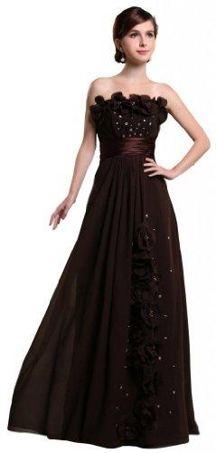 Orifashion para vestido de noche mujer a forma de Brown marrón