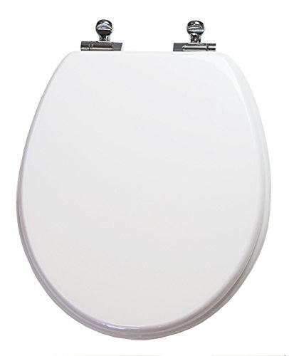 TOPSEAT Round Toilet Seat w/ Slow Close Chromed Metal Hinges, Wood, White (Slow Close Wooden Toilet Seat compare prices)