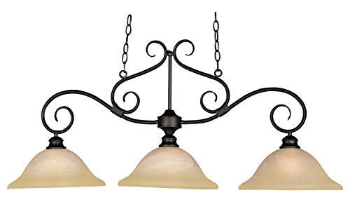 Three Light Kentucky Bronze Wilshire Glass Island Light