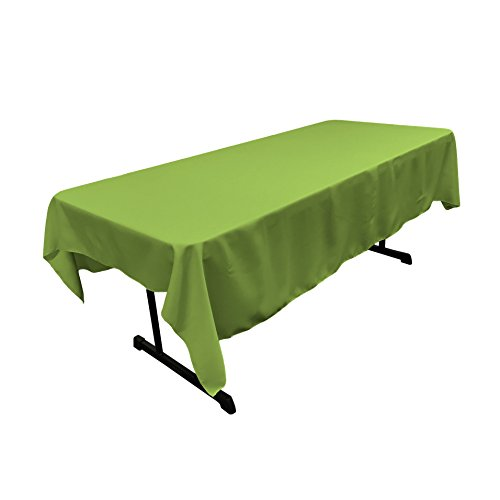 Lime Tablecloths - LA Linen Polyester Poplin 60 by 90-Inch Rectangular Tablecloth, Lime