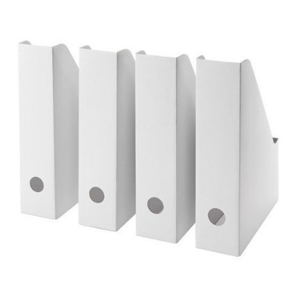 IKEA FLUNS White Magazine File White - Set of 8 (Magazine File Box)