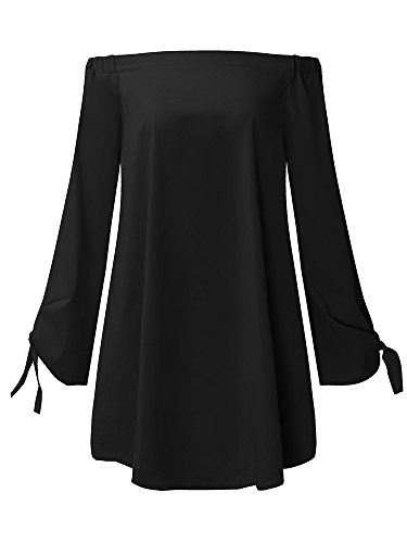 StyleDome Women Strapless Off Shoulder Elegant Tie Long Sleeve Party Loose Tops Irregular Sexy Mini Dress Black US 12 by StyleDome (Image #3)