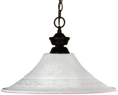 Z-Lite 100701BRZ-FWM16 Howler One Light Pendant, Steel Frame, Bronze Finish and White Mottle Shade of Glass Material