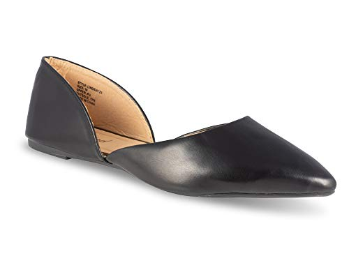 (Twisted Womens Lindsay Faux Leather Pointed Toe Flat - Lindsay Z 1 Black, Size 7)