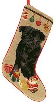 Black Pug with Gifts Needlepoint Stocking ()