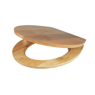Cooke And Lewis Standard Closing Toilet Seat Solid Oak