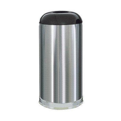 15-Gal Metallic Designer Dome Top Waste Receptacle [Set of 4] Color: Satin Stainless Steel (FM Approved Fire-Safe)