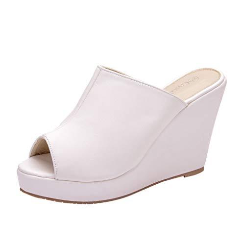 ◕‿◕Watere◕‿◕ Women's Solid Platform Slipper Roman Peep Toe Large Size Platform Slipper Wedges Casual Beach Shoes White